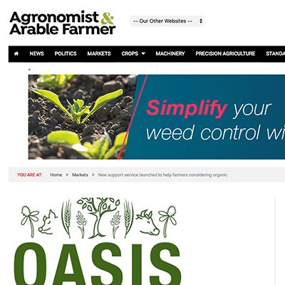 Agronomist and Arable Farmer - OASIS launched