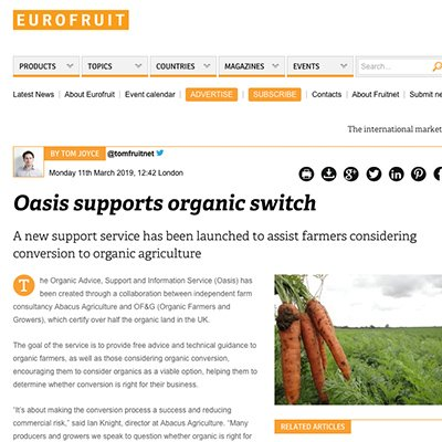 Eurofruit - Oasis supports organic switch
