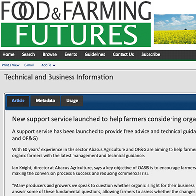 Food and Farming Futures - New support service